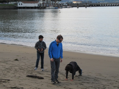 Mike and the boys at the beach in San Francisco