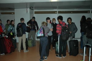 Sorting out our bags at the Venice Airport